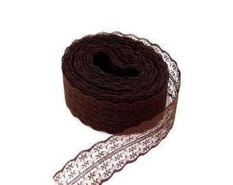 1 45 mm Brown embroidered tulle lace trim Ribbon