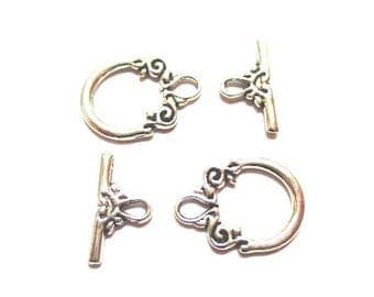 5 sets antique silver flower Toggle clasps