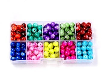 Box 240 multicolor 8mm mottled glass beads