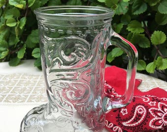 Vintage Clear Glass Cowboy Boot Mug or Glass