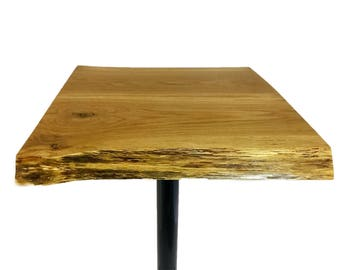 Live Edge Pub Bistro Table Bar Top Hickory Solid Wood Steel Base