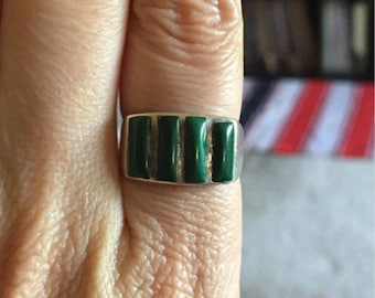 Malachite sterling ring