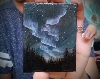 Northern Lights | Original Acrylic Painting | 7X9 cm