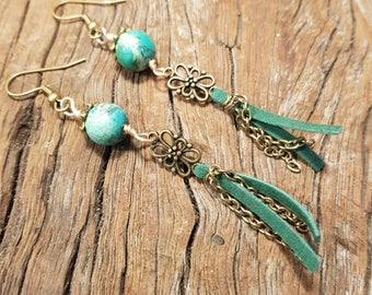 Turquoise earrings; Green earrings; Gemstone earrings; Filagree earrings; Gold earrings; Boho earrings; Suede earrings