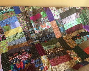 "Multi Rectangle Fabric Quilt Hand made 52"" x 70"""
