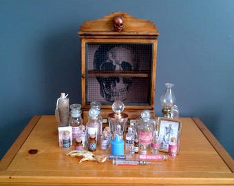 Antique Apothecary Poisoner's Cabinet Horror Prop Assemblage Oddity Dark Art Occult
