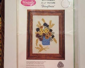 WonderArt Stitchery Kit Strawflowers