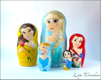 Nesting doll Disney Princess Matryoshka 5pcs Elsa Belle Ariel Cinderella Snow White/Матрешка Принцессы Дисней