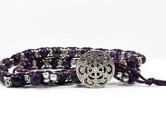 Amethyst Skies~Handmade Wrap Bracelet~February Birthstone~Amethyst Bracelet~Waxed Linen Bracelet~Semi-Precious Bracelet~Adjustable Bracelet