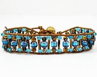 Rustic Blue~Handmade Wrap Bracelet~Bronze Metallic Leather~Czech Glass Cathedral Beads~Wrap Beaded Bracelet~Adjustable Bracelet~Gift