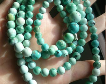 Natural untreated round beaded green blue turquoise long necklace