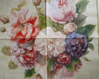 4 x single paper napkin, table napkins, decoupage napkins, Vintage roses, craft, serviette, party napkins, ROSES, handmade, scrapbooking