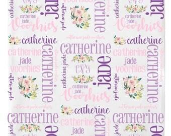 Personalized Baby Girl Blanket, Baby Name Blanket, Receiving Blanket, Swaddle Blanket