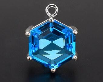 2 Hexagonal Capri Blue Pendant . Silver Plated over Brass Setting. 18mm