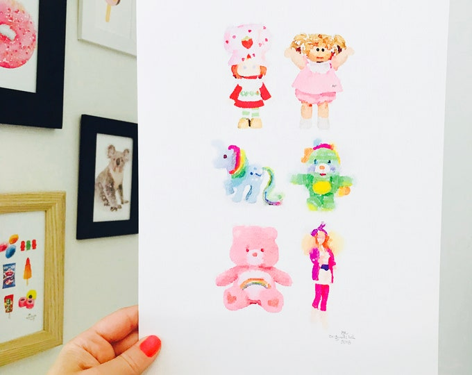 Iconic Retro Toys Print - A4 Size Designed and Printed in Australia.