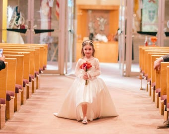 Princess ball gown dress or flower girl tulle dress with train with lace long sleeves made to order