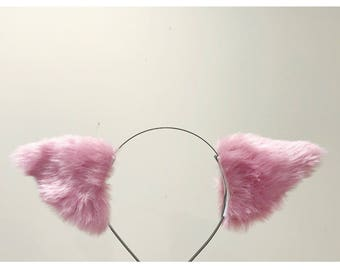 Cat ears Kitty Headwear Light Purple Pink Furry Animal Headband Costume Bow Bells