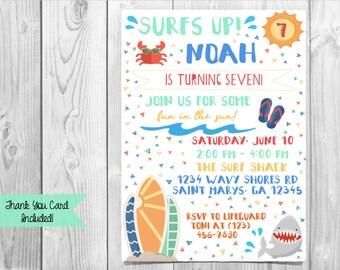 Surfer Birthday Invitation