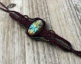 Hand carved labradorite arm band/bracelet, macrame bracelet