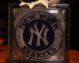 Yankees glass block night light