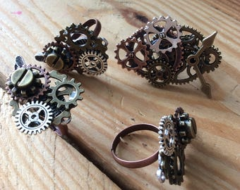 Steampunk adjustable rings