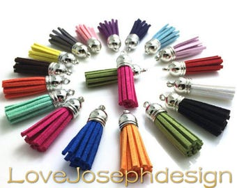 100pieces Assorted colors suede leather silver plastic caps ear tassel --for length 45mm