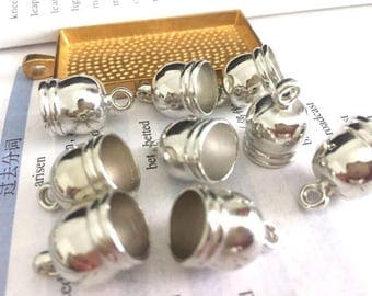 wholesale 100pieces silver plastic 12mmx18mm(inner hole 10mm)tassel caps/end caps/cord caps/cord findings
