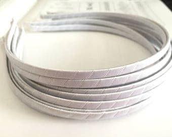 10pieces white satin metal hair headband covered 5mm wide