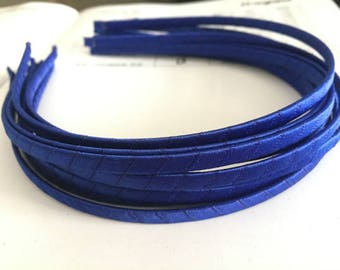 10pieces royal blue satin metal hair headband covered 5mm wide