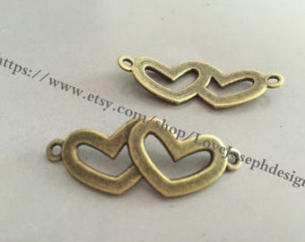 wholesale 50 Pieces /Lot Antique Bronze Plated 41mmx16mm heart connector charms (#0165)