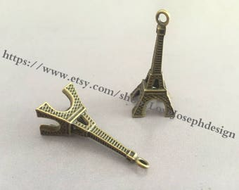 10 Pieces /Lot Antique Bronze Plated 16mmx39mm Eiffel Tower Charms (#0226)