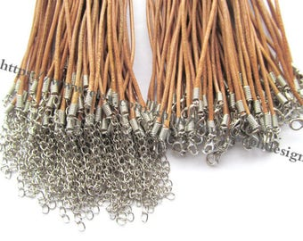 Adjustable 16-18inches wholesale 100pieces 2.0mm Natural brown genuine necklace cords(#0487)