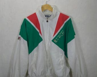 RARE! Vintage FILA SPORT Biella Italia embroidery logo windbreaker. Zip up. Multicolour.