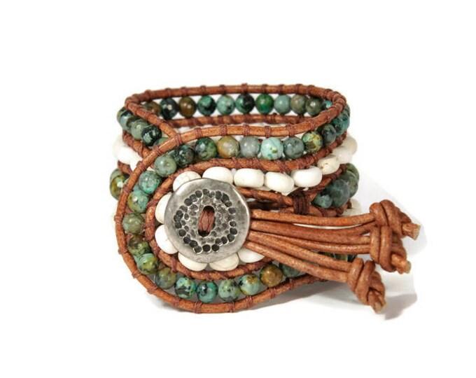 Boho Porto Lagos * 5 strand Statement Wrap Bracelet. Boho Style. Bohemian Jewelry. Semiprecious stones. Gift for her. Unique Design.