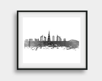 Dubai Art, Dubai Print, Dubai Skyline, Dubai Wall Art, Dubai Poster, Dubai Decor, Dubai Artwork, Dubai Wall Decor, Dubai Gift, Dubai Digital