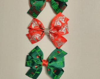 Christmas hair bow, jingle bells hair bow, winter hair bow, baby headband, Christmas light bow,  red and green hair bow, silver red hair bow
