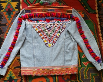 Embellished Denim Jacket, Gypsy, Boho Jacket, Fringed Jacket,  Unique one of a kind and made with Love