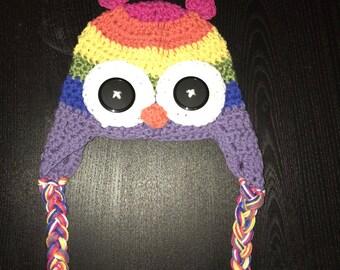 Rainbow baby owl beanie