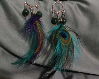 Copper Feather Earrings with Seraphinite and Rainbow Fluorite