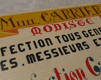 Hand - painted wooden trade sign 40's - vintage - Milliner - sewing - advertising - decoration - collection - collectible.