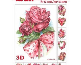Paper sheets 3D decoupage, collage, card making the ROSES