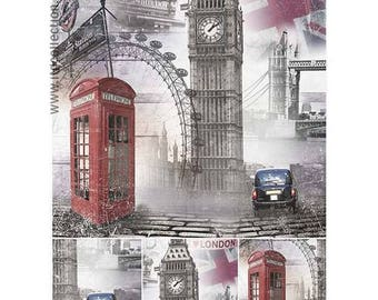 1 sheet of rice paper 21 x 28 cm decoupage collage VINTAGE London 841