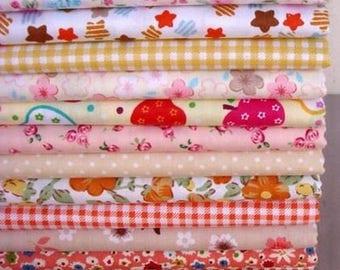 13 coupons fabric patchwork/seam 40 x 50 cm tones FRUITES 210315
