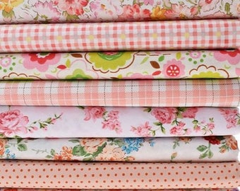 8 coupons fabric patchwork sewing 40 x 50 cm floral GINGHAM 070916.