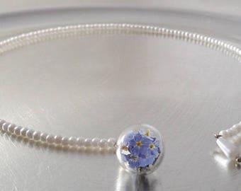 Open Choker true forget-me-not flower ring (0085/Pearl)