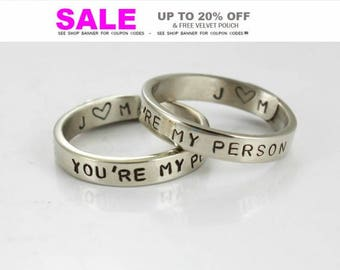 Personalized - You Are My Person Ring- Couples ring -Custom - Initials Ring -Ring for couple - Gold/ Rose Gold/ Silver Color - Anniversary