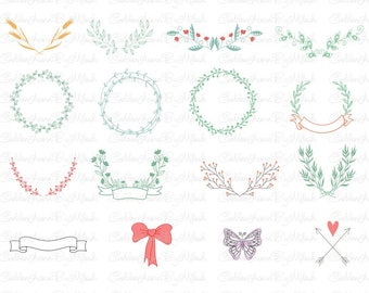 Floral Ornament Svg Floral Wreath Svg Dxf Png Eps Files Vector Hand drawn wreath floral clipart SVG Monogram flowers cutting file