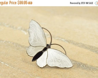 HUGE Sale Textured Antique Style White Black Enamel Moth Pin / Brooch Sterling Silver 8.2g