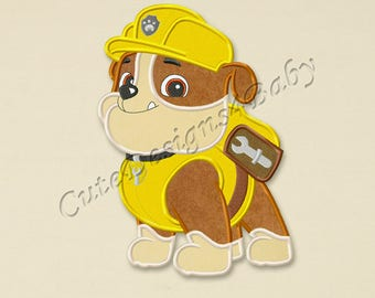 Paw Patrol Rubble applique embroidery design, Paw Patrol Machine Embroidery Designs, Embroidery designs for baby, Instant download #005