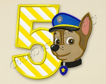 Paw Patrol Chase Number 5 applique embroidery design, Paw Patrol Machine Embroidery Designs, Embroidery designs baby, Instant download #034